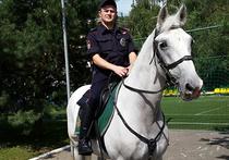 Патрульный конной полиции спас пьяного в Строгинской пойме